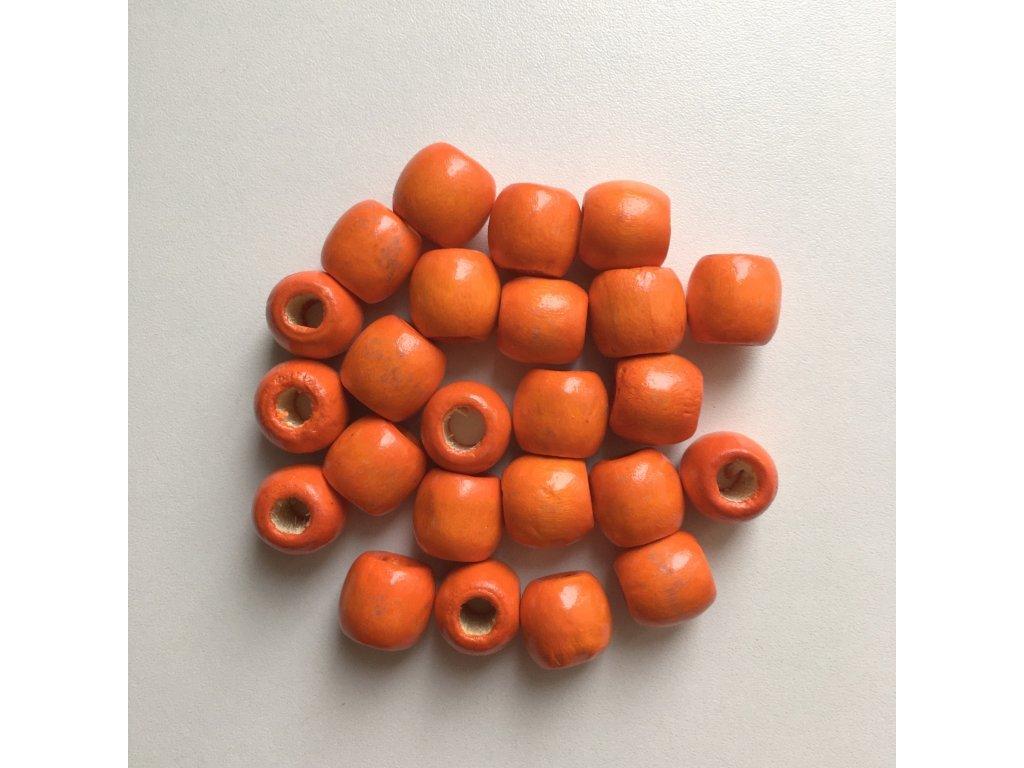 Korálky na vrkôčiky a dready drevené oranžové veľké 24ks