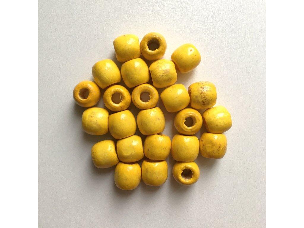 Korálky na vrkôčiky a dready drevené žlté veľké 24ks