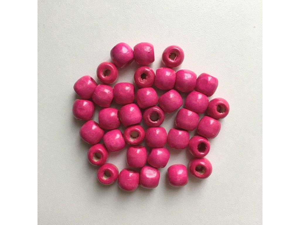 Korálky na vrkôčiky a dready drevené ružové malé 35ks
