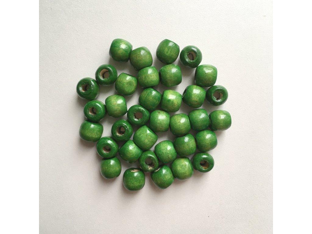 Korálky na vrkôčiky a dready drevené zelené malé 35ks