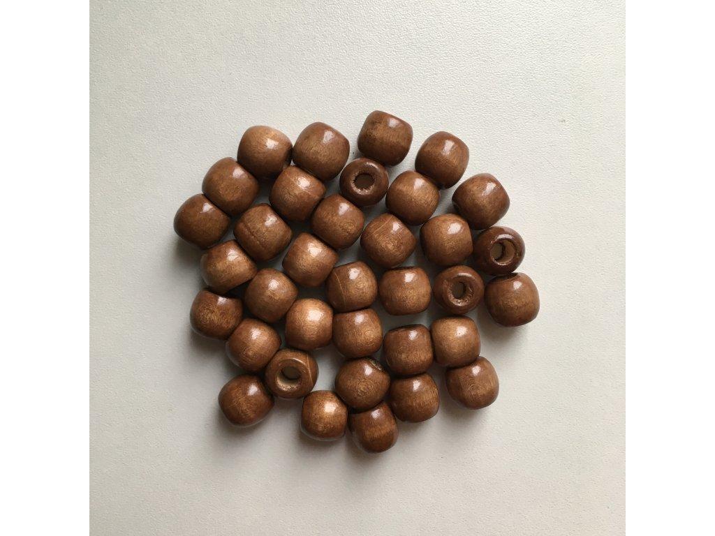 Korálky na vrkôčiky a dready drevené stredne hnedé malé 35ks