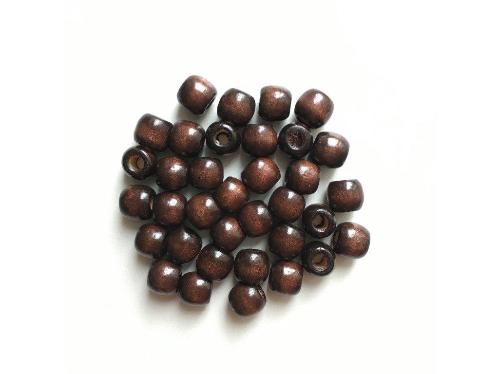 Korálky na vrkôčiky a dready drevené tmavo hnedé malé 35ks