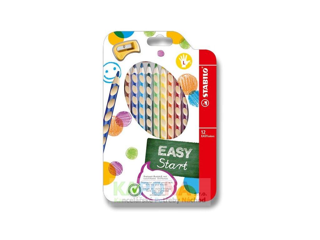 Pastelky trojhranné Stabilo EasyColors pro leváky, 12 barev, 331/12