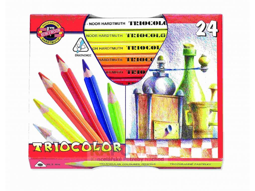 Pastelky trojhranné silné Koh-I-Noor lakované, různý počet barev (Popis 3154/24 barev)