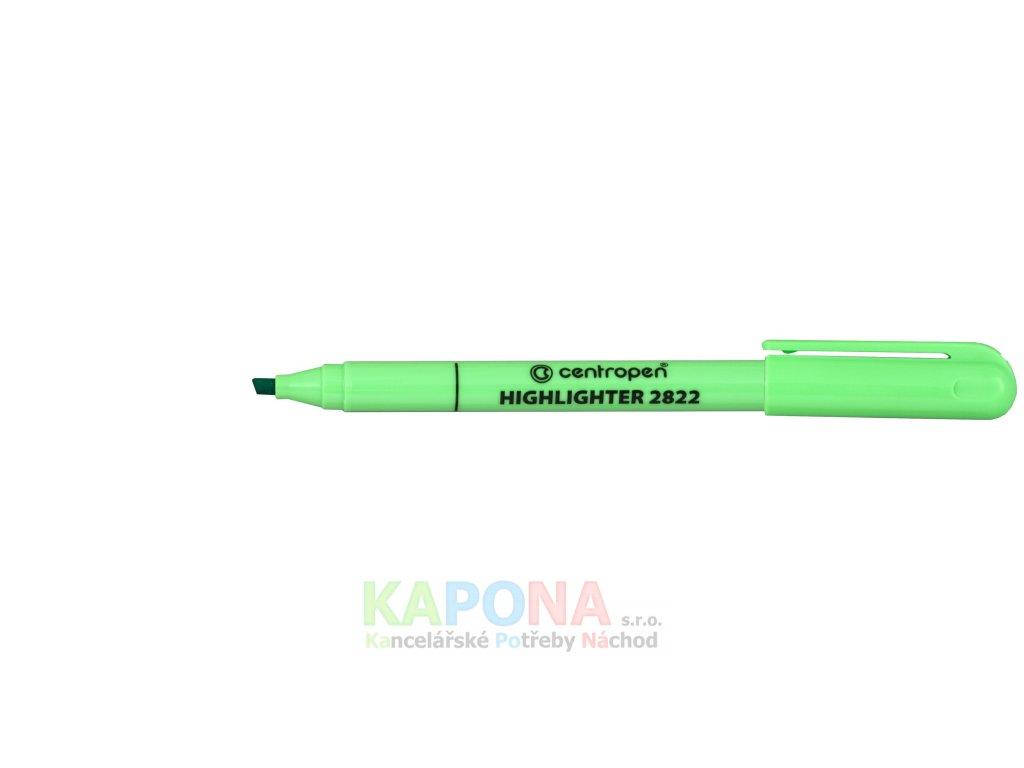 Zvýrazňovač 2822 klínový hrot, jednotlivé barvy (Barva Zelená, V balení 10ks)