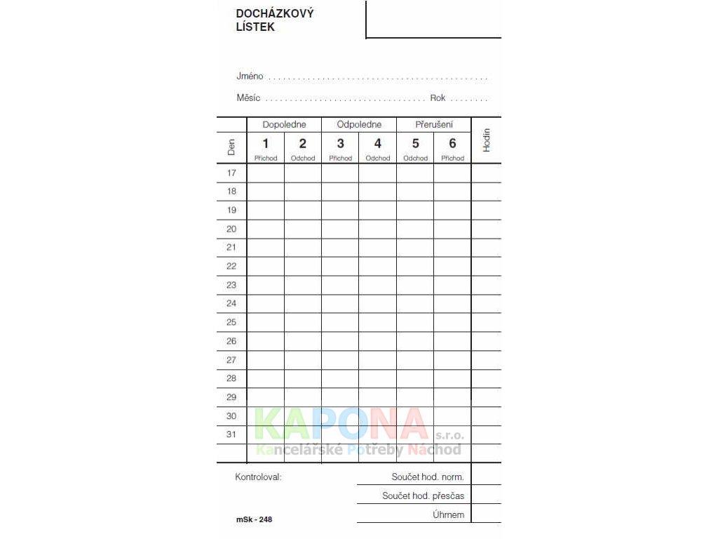 Docházkový lístek - píchačka, MSK 248