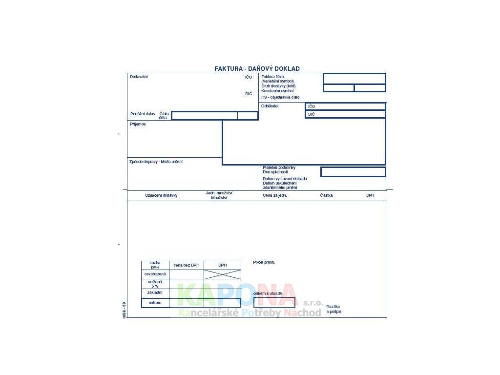 Faktura 2/3 A4 samopropisovací tabulka na DPH, MSK 39