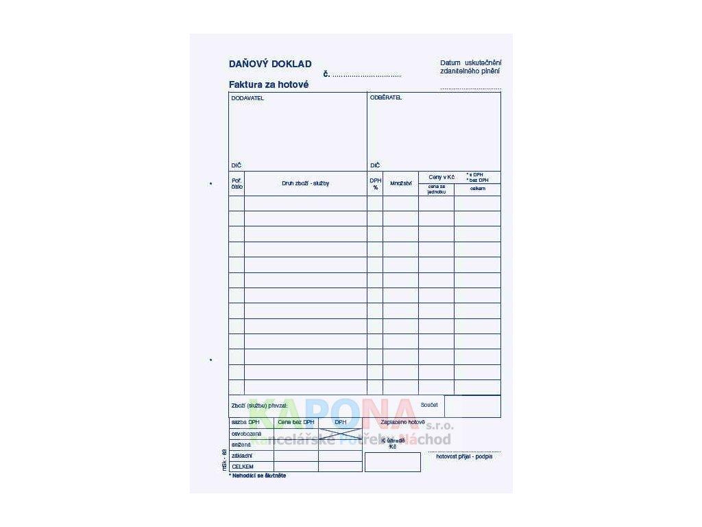Faktura A5 samopropisovací za hotové daňový doklad, MSK 83