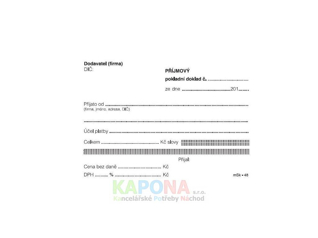 Příjmový doklad nečíslovaný bez tabulky, MSK 48