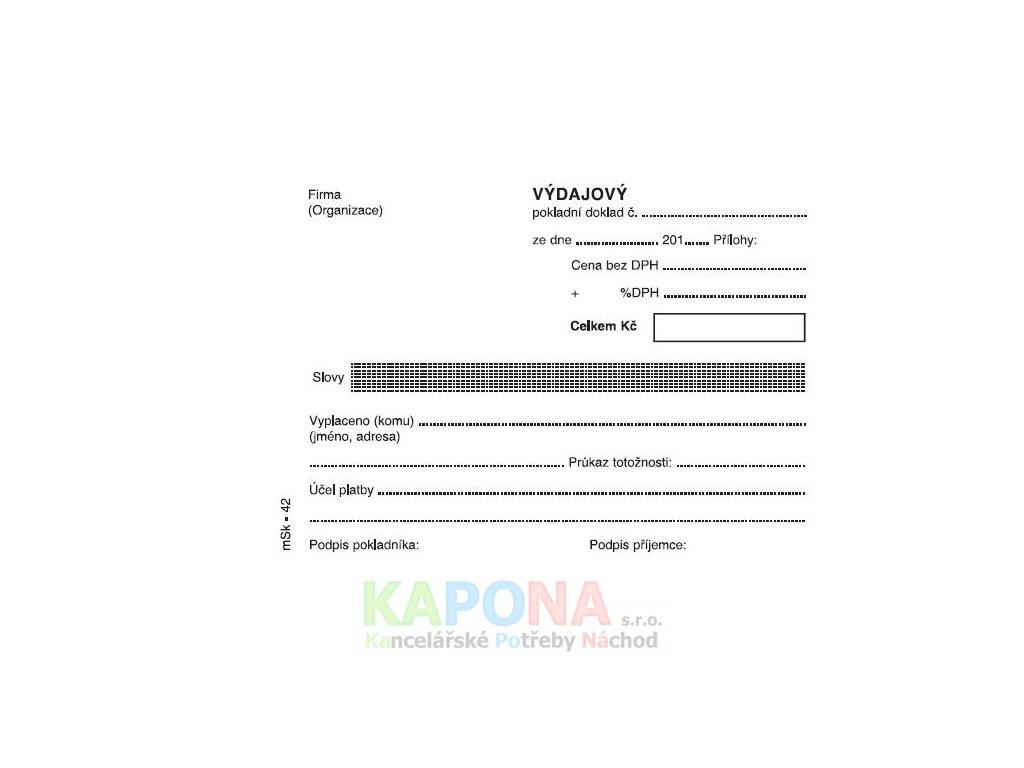 Výdajový pokladní doklad A6 jednoduchý, MSK 42