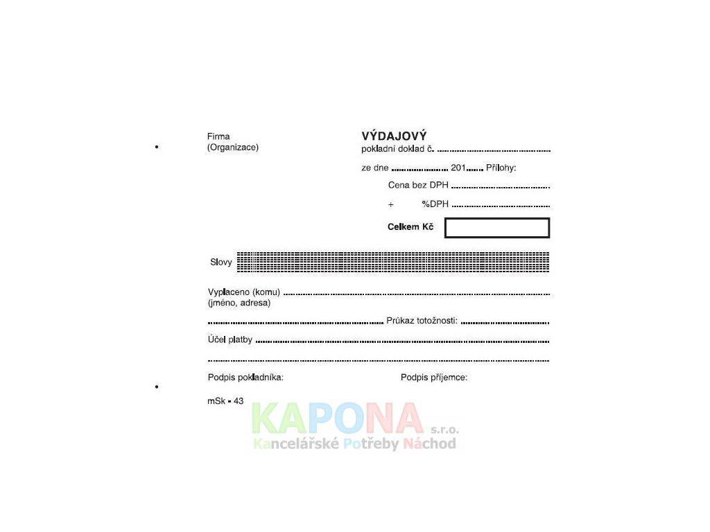 Výdajový pokladní doklad A6 jednoduchý samopropisovací, MSK 43