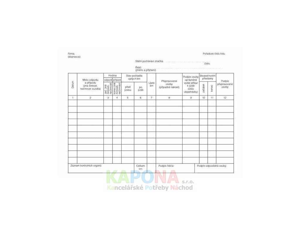 Záznam o provozu vozidla osobní dopravy, MSK 322