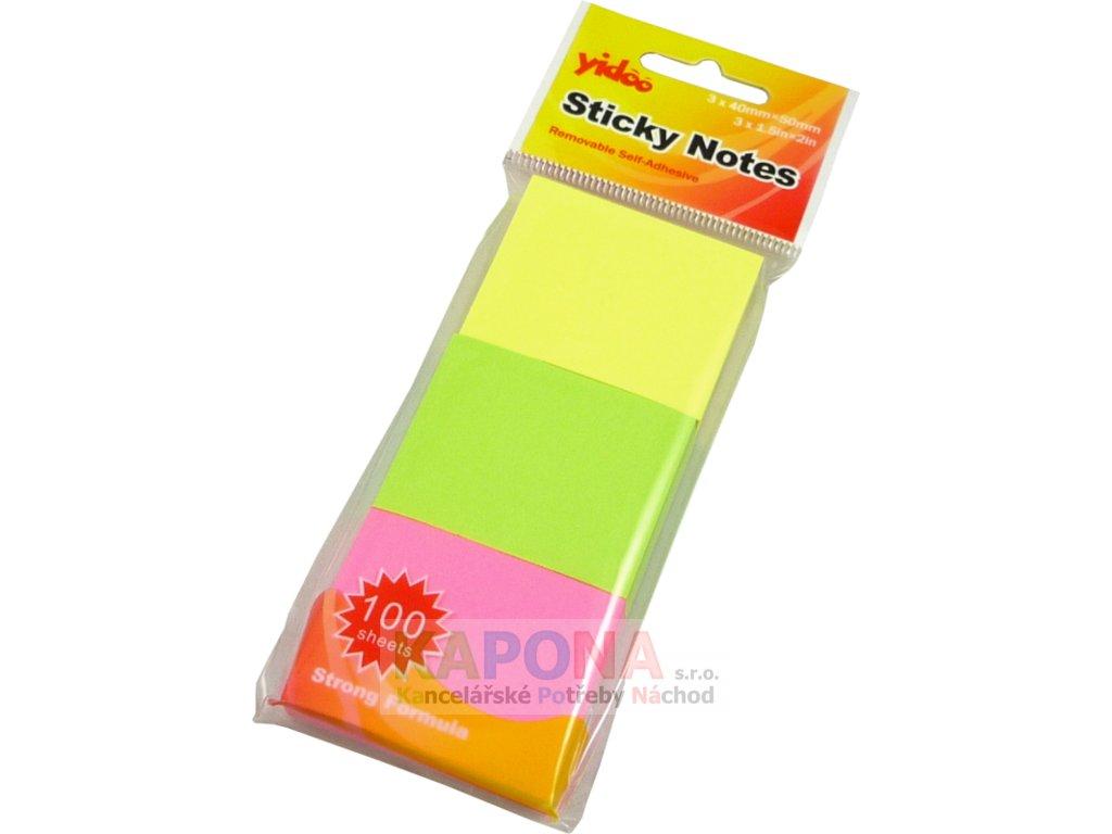 Bloček samolepící 50 x 40mm, 3x100ls - mix neonových barev