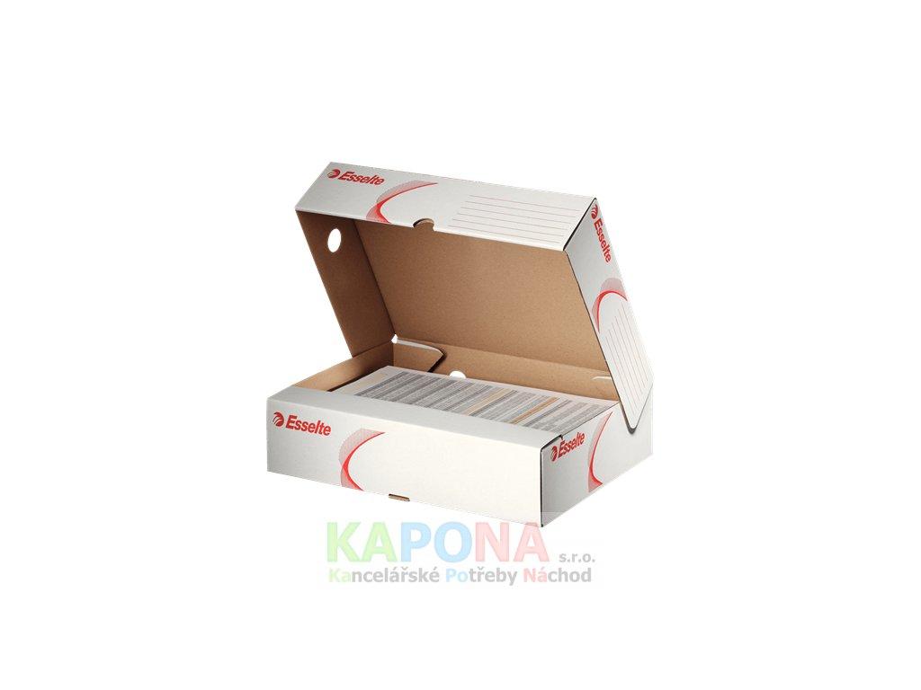 Krabice archivační A4  Esselte horizontální bílá s červeným potiskem