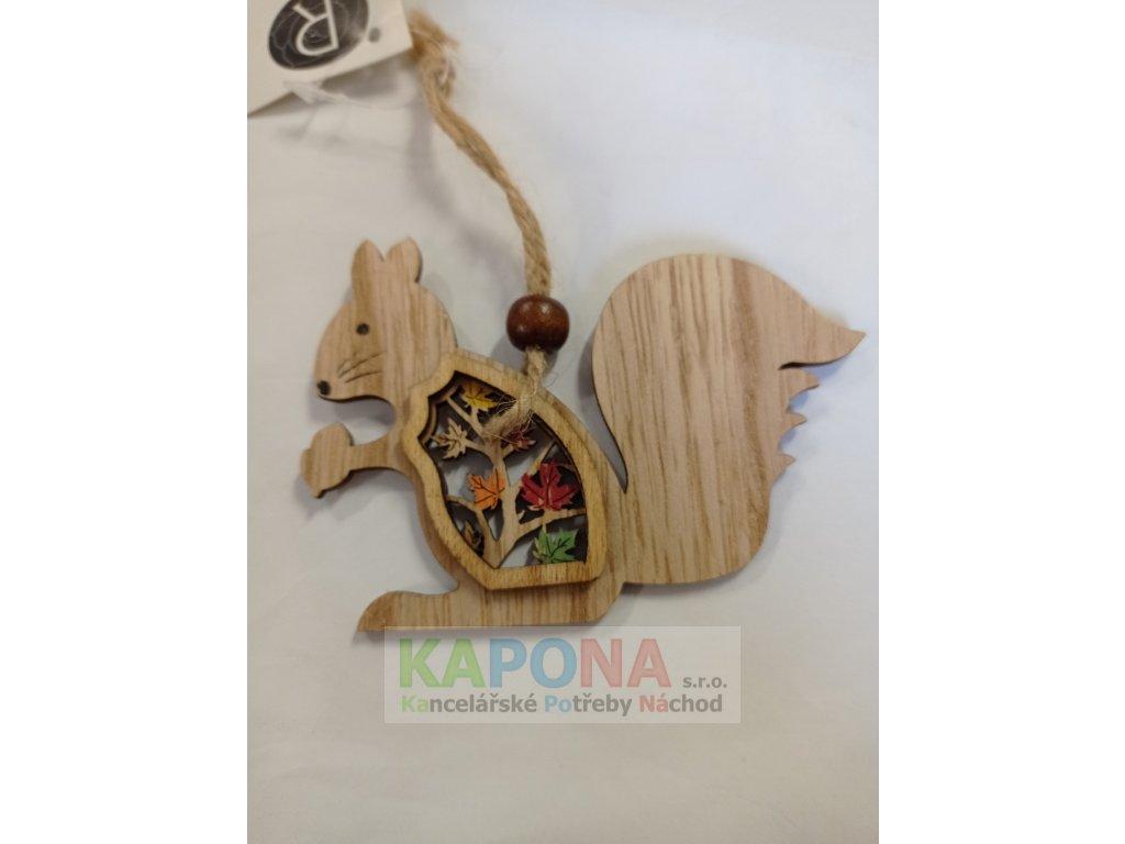Závěs dřevo 9,5 x 7 cm - VEVERKA