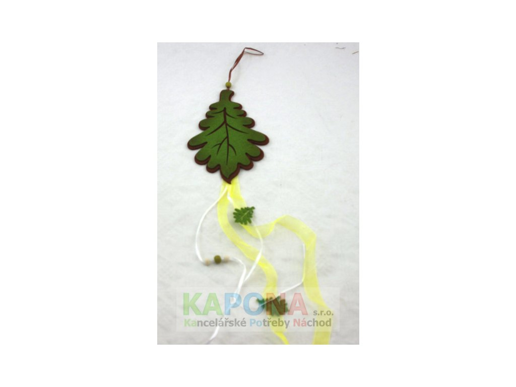 Závěs filc dubový list 23x12cm 60cm