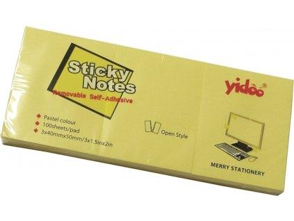 Bloček samolepící 50 x 40mm, 3x100ls - žlutý