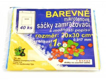 Sáčky zamrazovací mikroténové č.1 20 x 30 cm barevné