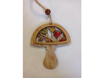 Závěs dřevo 7 x 8 cm - HOUBIČKA