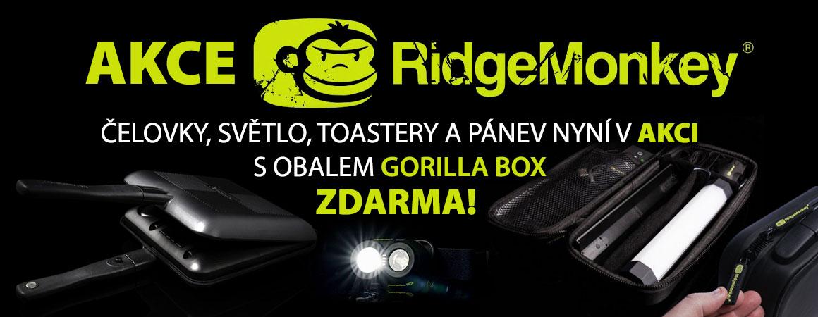 Akce RidgeMonkey! Čelovky, světlo, toastery a pánev nyní v akci s obalem Gorilla Box zdarma!
