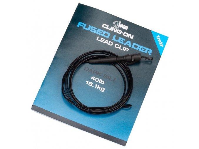 nash montaz cling on fused lead clip leader 40lb silt 1 m