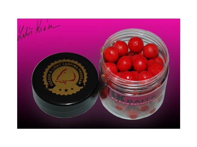 LK Baits MINI Boilies v dipu WILD STRAWBERRY Fluoro