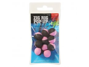Giants Fishing Pěnové plovoucí boilie Zig Rig Pop-Up pink-black 10mm,10ks