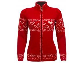 SPORTCOOL Dámsky sveter SOCHI 386 - červená/prírodná (Veľkosť XS Červená/prírodná)