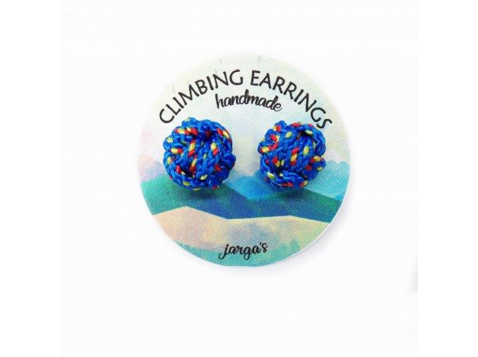 Climbing knot earrings blue