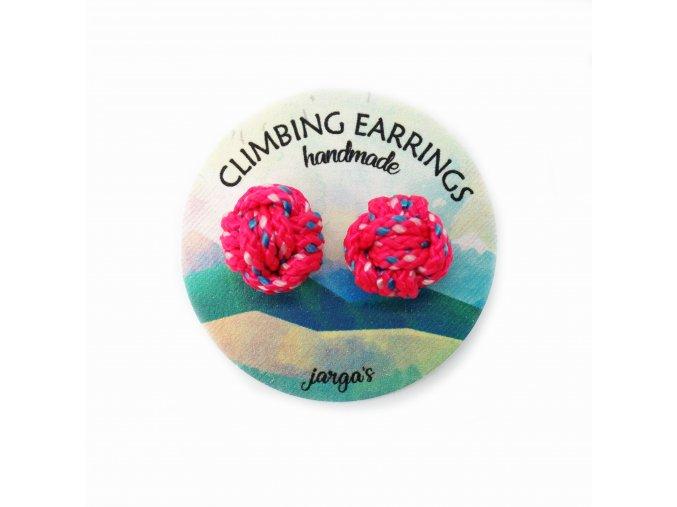 Climbing knot earrings pink