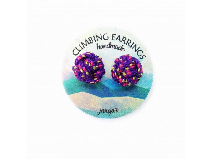 Climbing knot earrings purple
