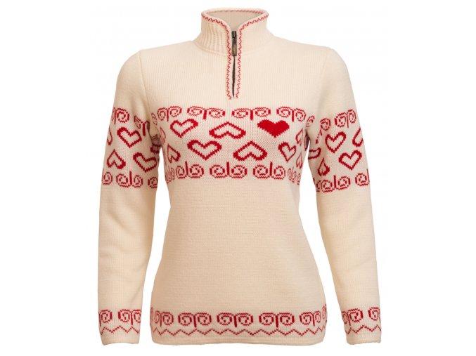 SPORTCOOL Dámsky sveter SOCHI 385 - prírodná/červená