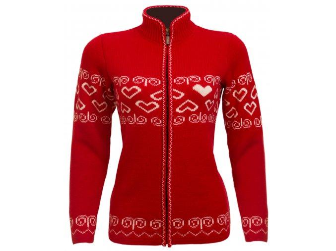 SPORTCOOL Dámsky sveter SOCHI 386 - červená/prírodná