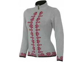 SPORTCOOL Dámsky sveter PYEONGCHANG 391 - sivý melír/červená