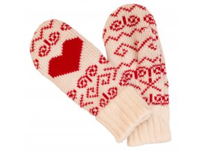 SPORTCOOL Dámske rukavice SOCHI 287 - prírodná/červená