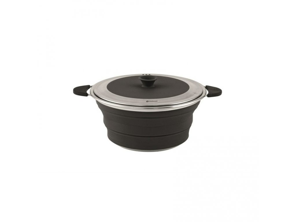 650629 Collaps Pot with Lid M Midnight Black Main photo 1