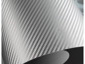 50cm x 50cm STŘÍBRNÁ CARBON FOLIE 3D - KARBON FOLIE