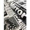 Bavlněná látka černobílé noviny