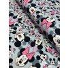 Bavlněná teplákovina růžová Minnie a Mickey