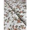 Bavlněná látka starorůžové popínavé květy na krémové