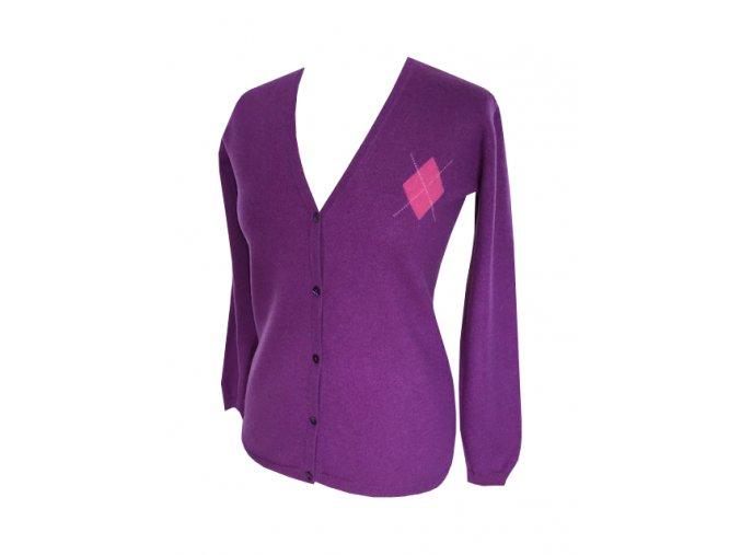 fialovy kasmirovy cardigan