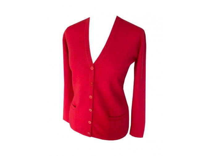 kasmirovy cardigan cerveny
