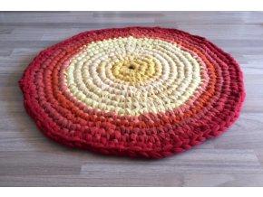 Ručně háčkovaný kašmírový koberec, průměr 70 cm