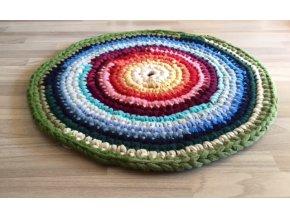 Ručně háčkovaný kašmírový koberec, průměr 80 cm