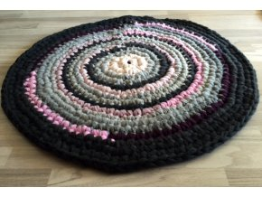 Ručně háčkovaný kašmírový koberec, průměr 85 cm