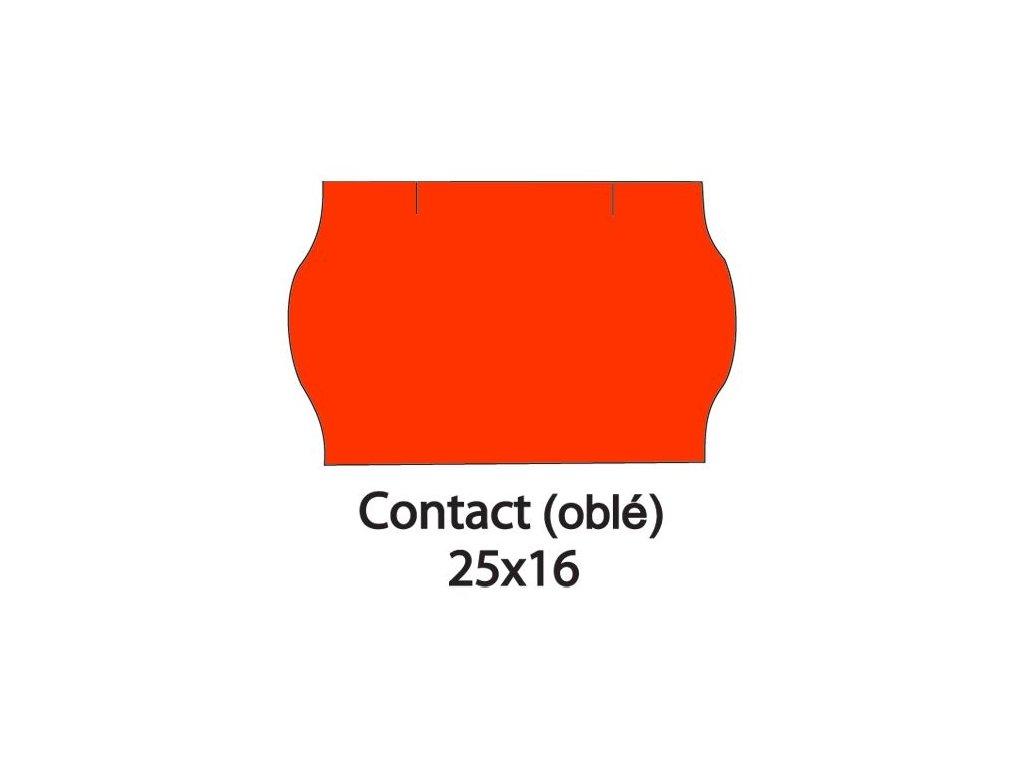 Etikety CONTACT do kleští 25x16mm červené oblé