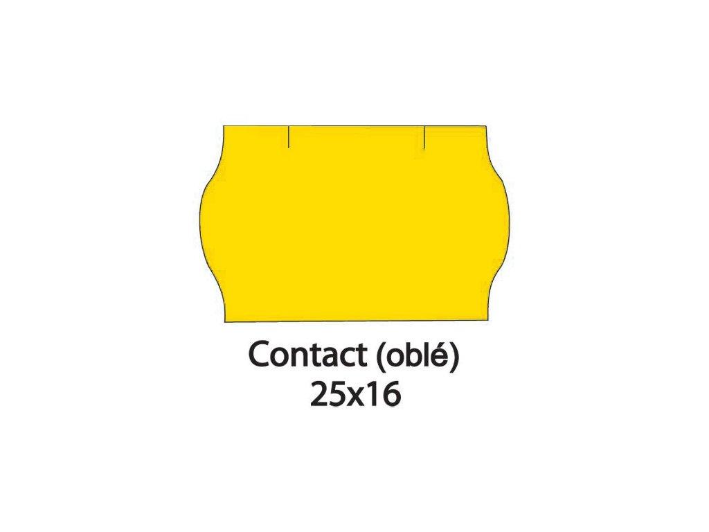 Etikety CONTACT do kleští 25x16mm žluté oblé