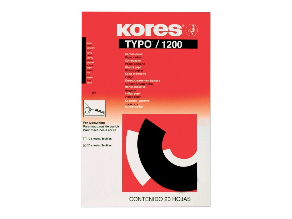 Uhlový papír KORES 20 listů černý