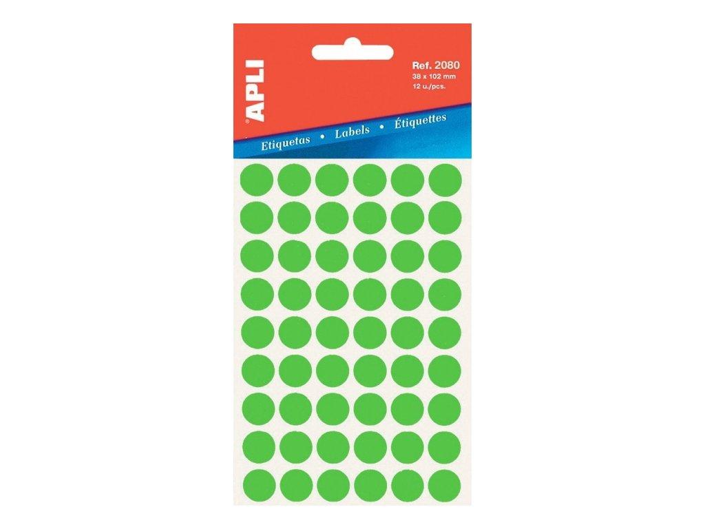 Etikety APLI kolečka 19mm zelená