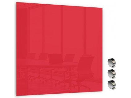 Skleněná magnetická tabule Memoboards 45x45cm červená